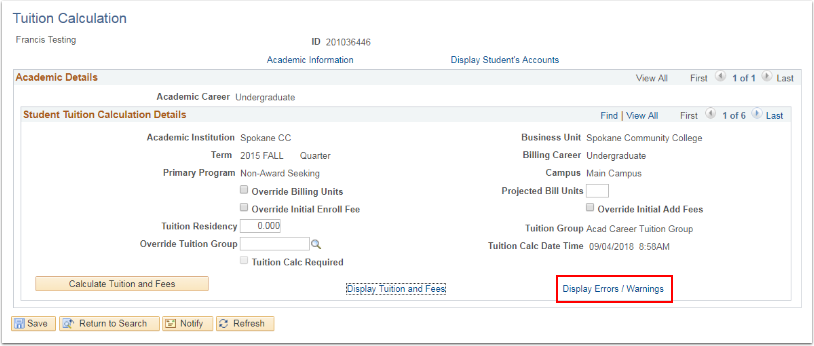 Tuition Calculation page Display Errors/Warnings link highlighted