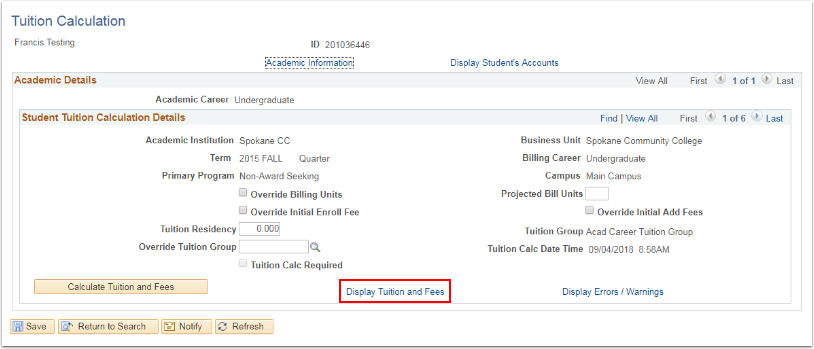 Tutiion Calculation page Display Tuition and Fees link highlighted
