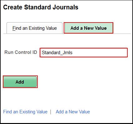 Create Standard Journals Add a New Value tab
