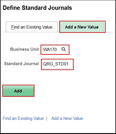 Define Standard Journals Add a New Value tab
