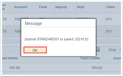 Journal saved confirmation box