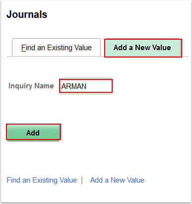 Journals Add a New Value tag