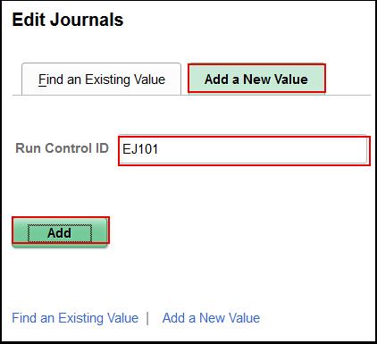 Edit Journals Add a New Value tab