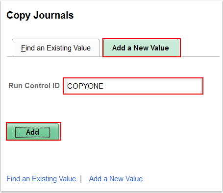 Copy Journals Add a New Value tab