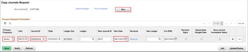 Copy Journals Request page