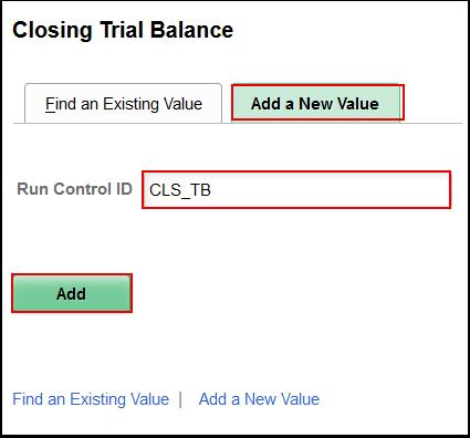 Closing Trial Balance Add a New Value tab
