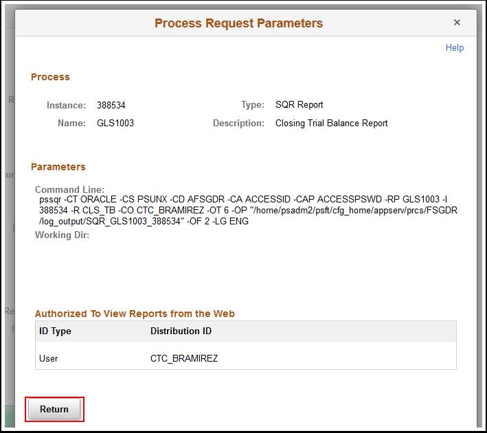Process Request Parameters page