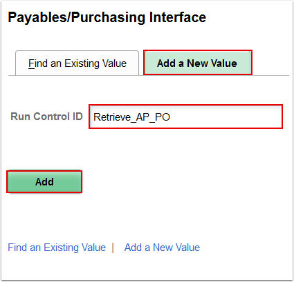 Payables Purchasing Interface Add a New Value page