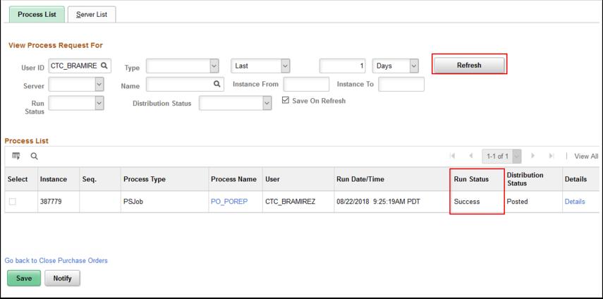 Process Monitor Process List page