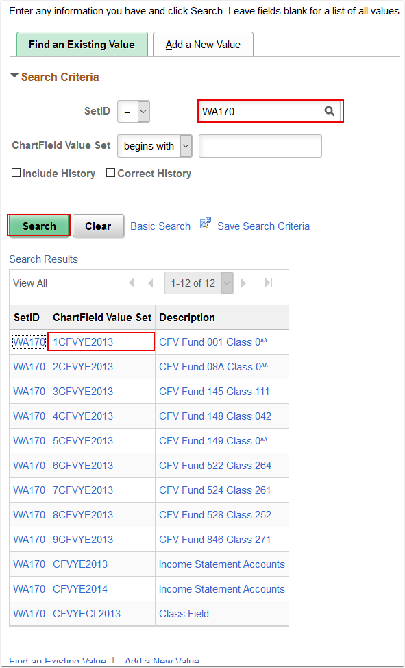 Chartfield Value Sets Find an Existing Value tab