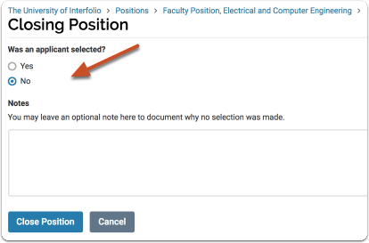 Indicate whether or not an applicant was selected to fill the position