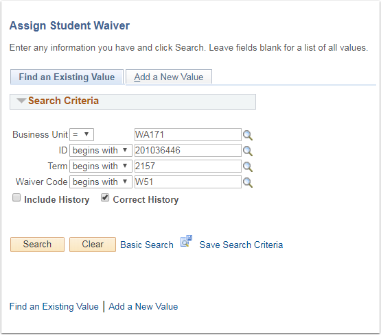 Assign Student Waiver page Find an Existing Value tab