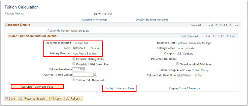 Tuition Calculation page Calculate Tuition and Fees button and Display Tuition and Fees link highlighted