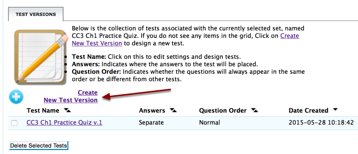 "Click on ""Create New Test Version."""