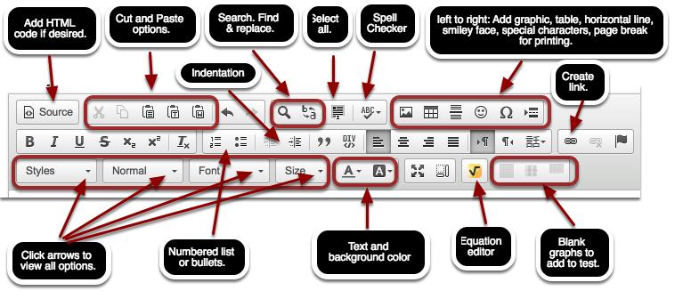 Online Editor: Modify test/quiz.