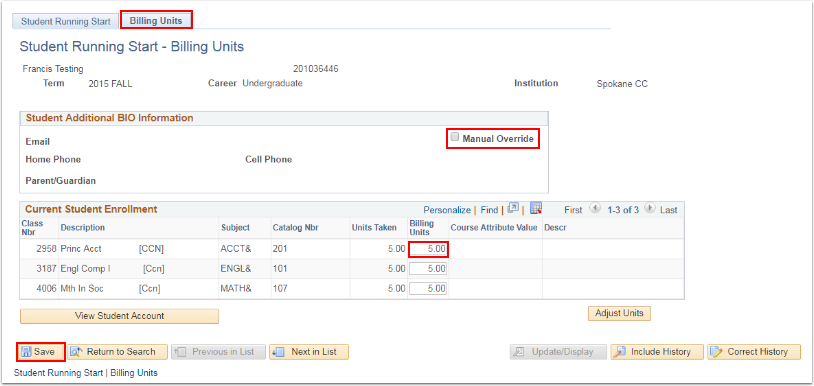 Billing Units tab
