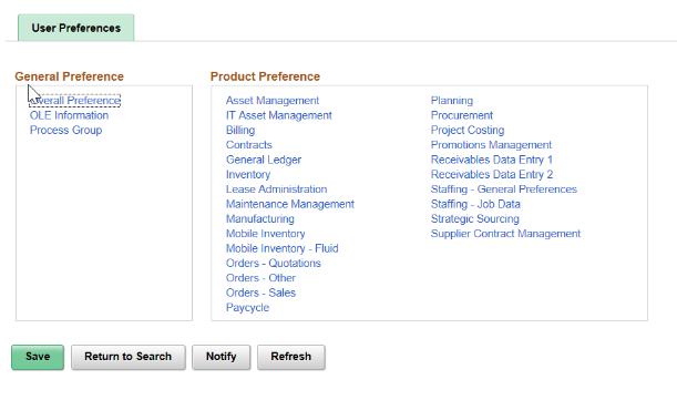 user preferences tab