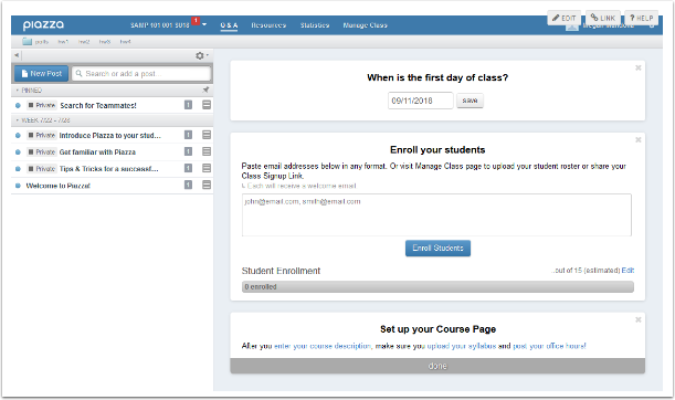 Piazza course page
