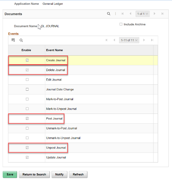 enable journal audit logging events page