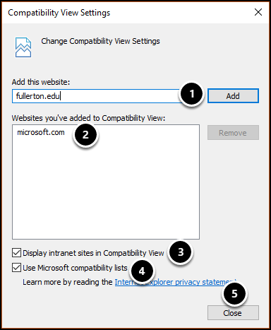 Compatibility View Settings screen