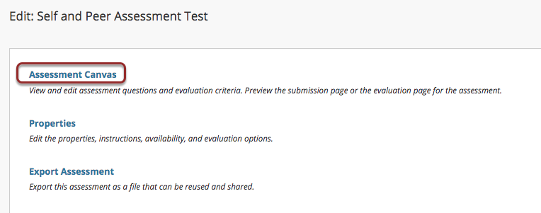 Image of the Edit: Peer Evaluation screen with the Assessment Canvas option outlined with a red circle.