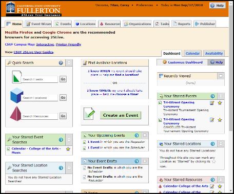 25Live testing environment homepage