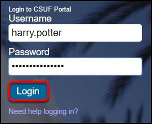 campus portal login screen