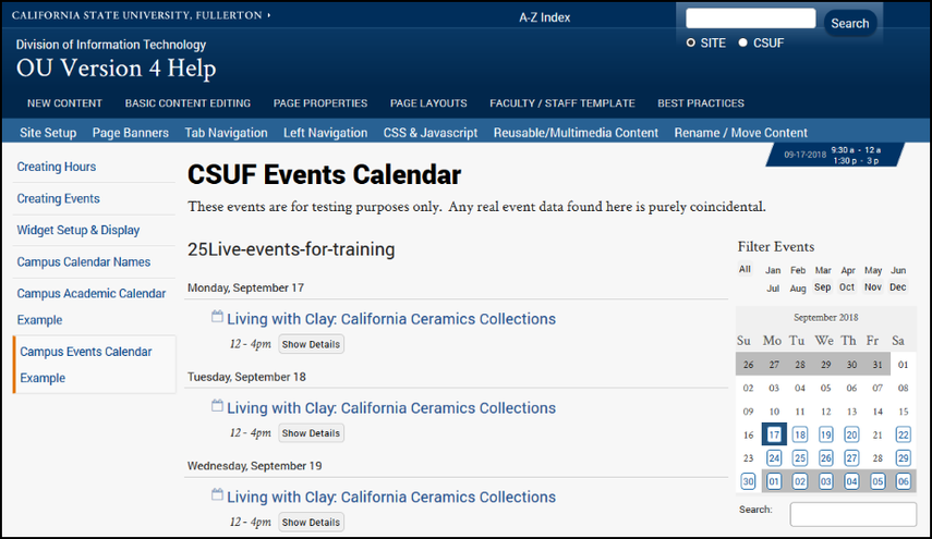 Campus Events Calendar Example page