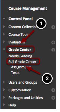 Image of the control panel open at Grade Center with the following annotations:  1.Select Grade Center 2.Click on Full Grade Center.