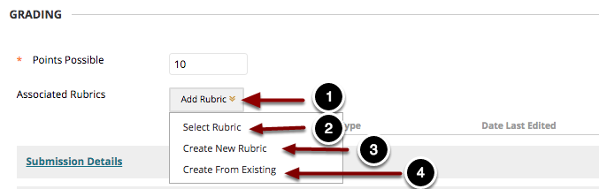 Image of the Add Rubric menu with the following annotations: 1.Select Rubric: Choose this option to select a rubric that has already been created.2.Create New Rubric: Select this option to create a new rubric from scratch. For more information, please refer to the guide titled Creating an Interactive Rubric.3.Create From Existing: Selec this option to create a new rubric using an existing rubric as a template.