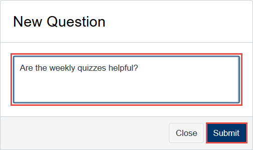 "Enter the text of your question stimulus [2] and then click the ""Submit"" button."