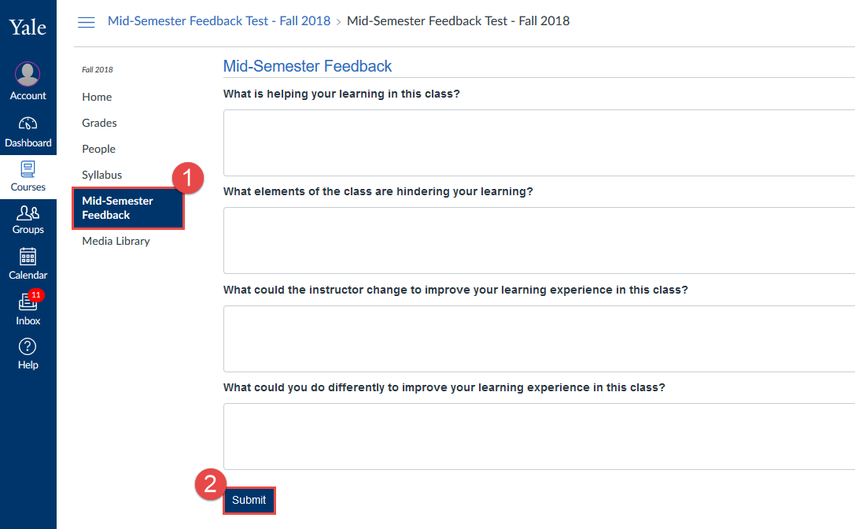 """Click """"Mid Semester Feedback"""", enter your feedback, and click """"Submit"""""""