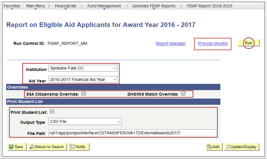 Report on Eligible Aid Applicants Page