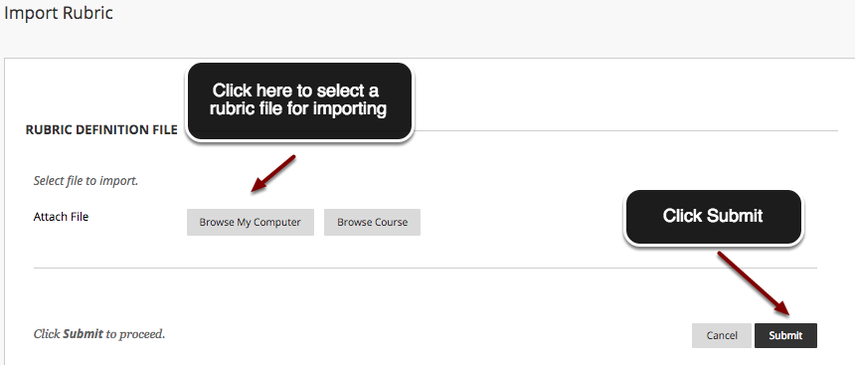 Image of the Rubric Import screen with an arrow pointing to the Browse My Computer button in the middle of the image with instructions to click Browse My Computer to select a rubric file for importing.  In the bottom right corner, an arrow points to the Submit button with instructions to click Submit.