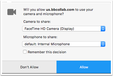 image of dialog box asking users to select and allow use of microphones and cameras