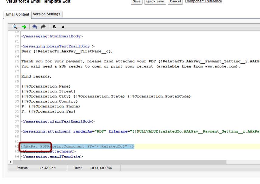 Update receipt component namespace