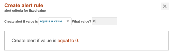 Alert Rule if Value = 0