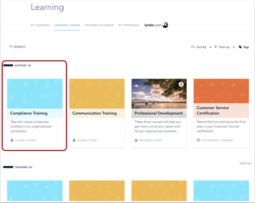 View Categories in Learning Library