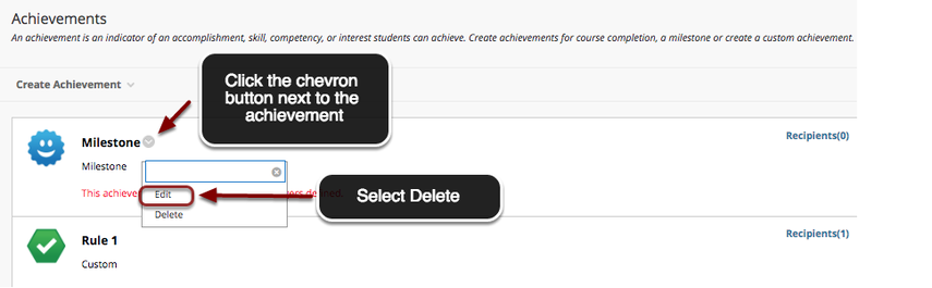 Image of the Achievements screen in Blackboard with an arrow pointing to the chevron to the right of the achievement with instructions to click on the chevron button.  A menu is shown below the item with the options edit and delete, with the delete option outlined with a red circle and an arrow pointing to it with instructions to select Delete.