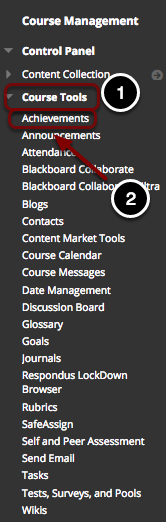 Image of the control panel with the course tools section expanded to show the list of options available.
