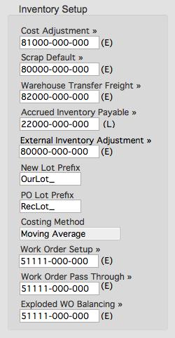 Inventory Setup