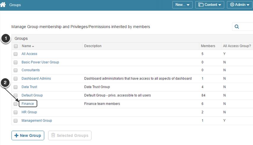 Access Admin > Groups