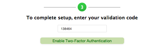 "5.  Scan the barcode, and click ""Enable Two-Factor Authentication""."
