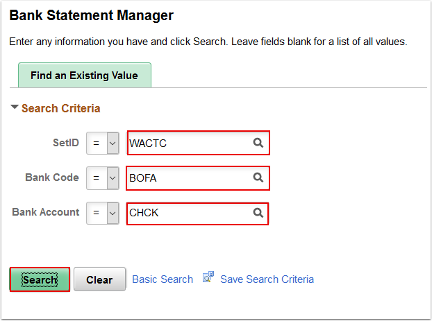Bank Statement Manager search page
