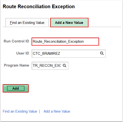 Route Reconciliation Exception Add a New Value page