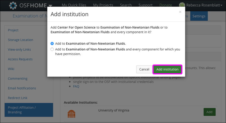 "The ""Add institution"" Modal"
