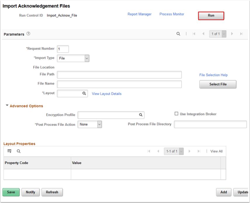 Import Acknowledgement Files page