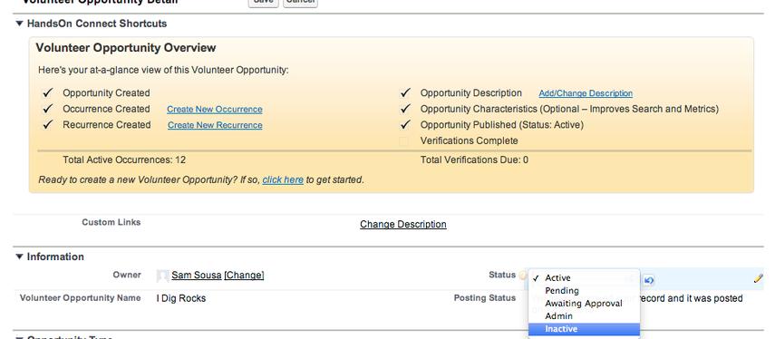 Volunteer Opportunity Statuses