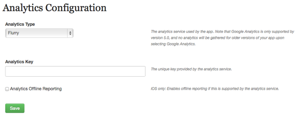 (Optional) Click on Assets and Configuration > Analytics Configuration to configure third party analytics.