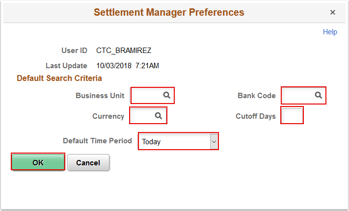 Settlement Manager Preferences page